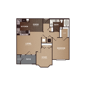 A5 1 Bedroom 1 Bath w/ Study