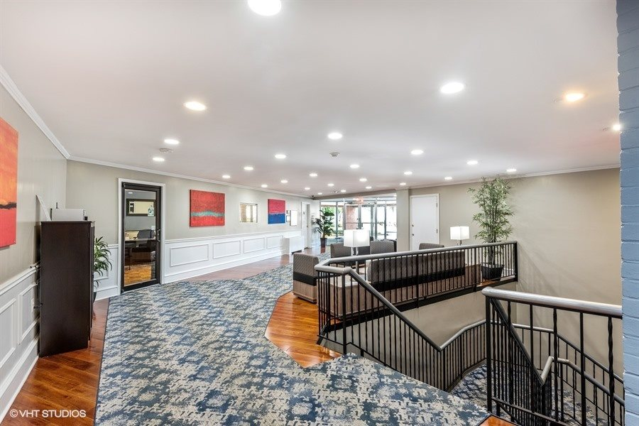 Upstairs modern lobby with office at Broadfalls in Falls Church, VA
