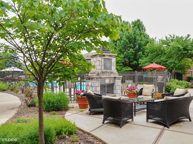 Outdoor fireplace at Brook Run in Arlington Heights, IL