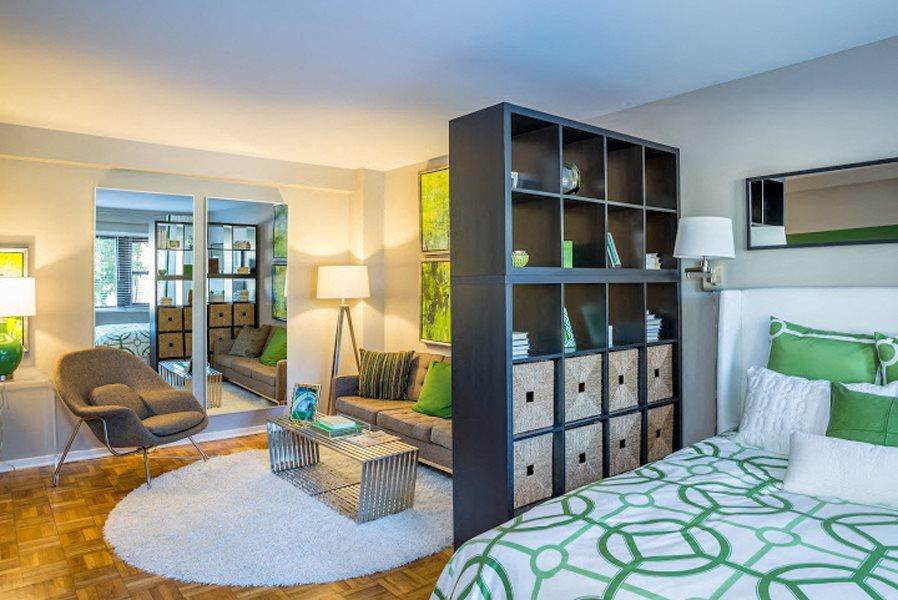 Studio floorplan with high ceilings at Bridgeyard in Alexandria, VA