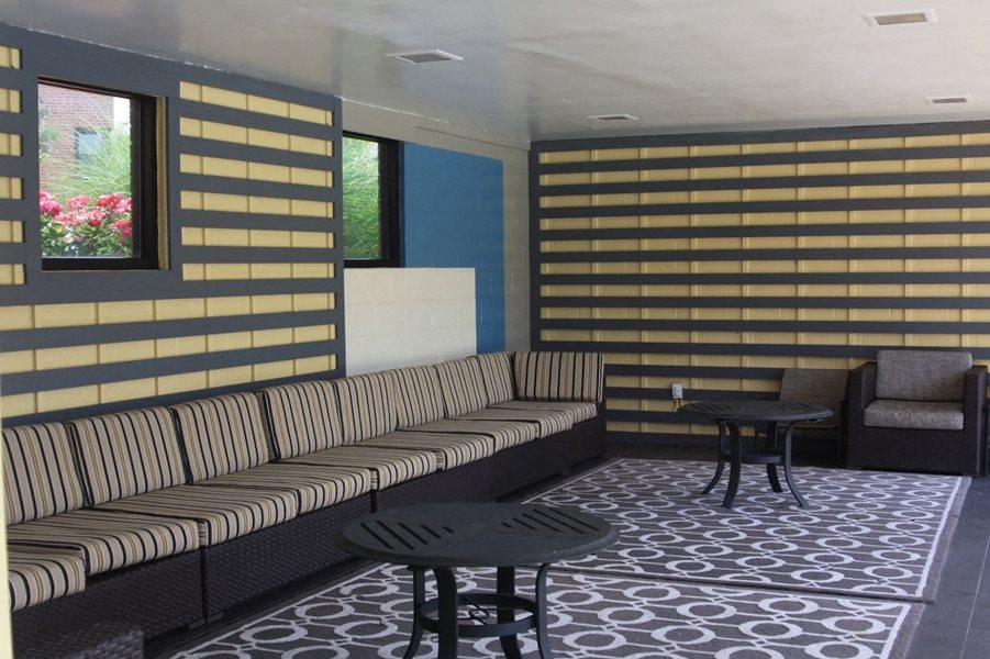 Pool lounge area at Bridgeyard in Alexandria, VA