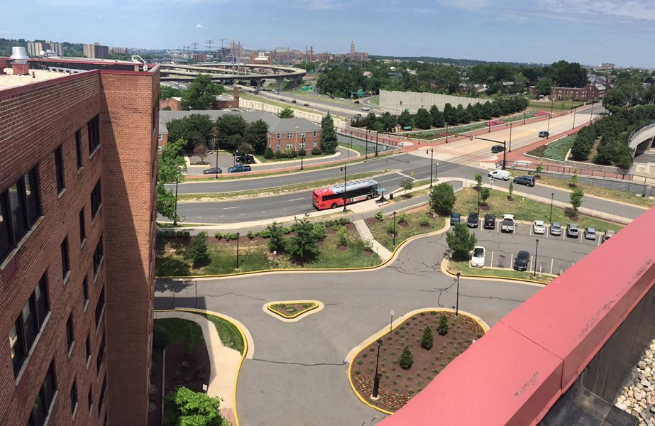 View of parking lot from top of building at Bridgeyard in Alexandria, VA