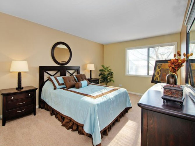 Large bedroom with large windows at The Townhomes at Highcrest in Woodridge, IL