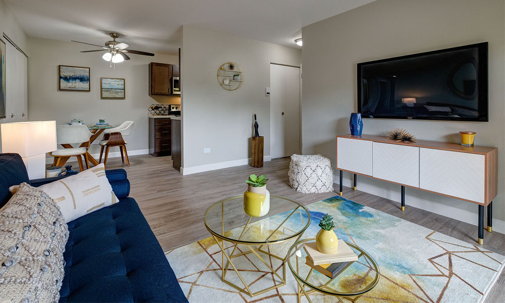Living room with flat screen TV - The Clayson in Palatine, IL