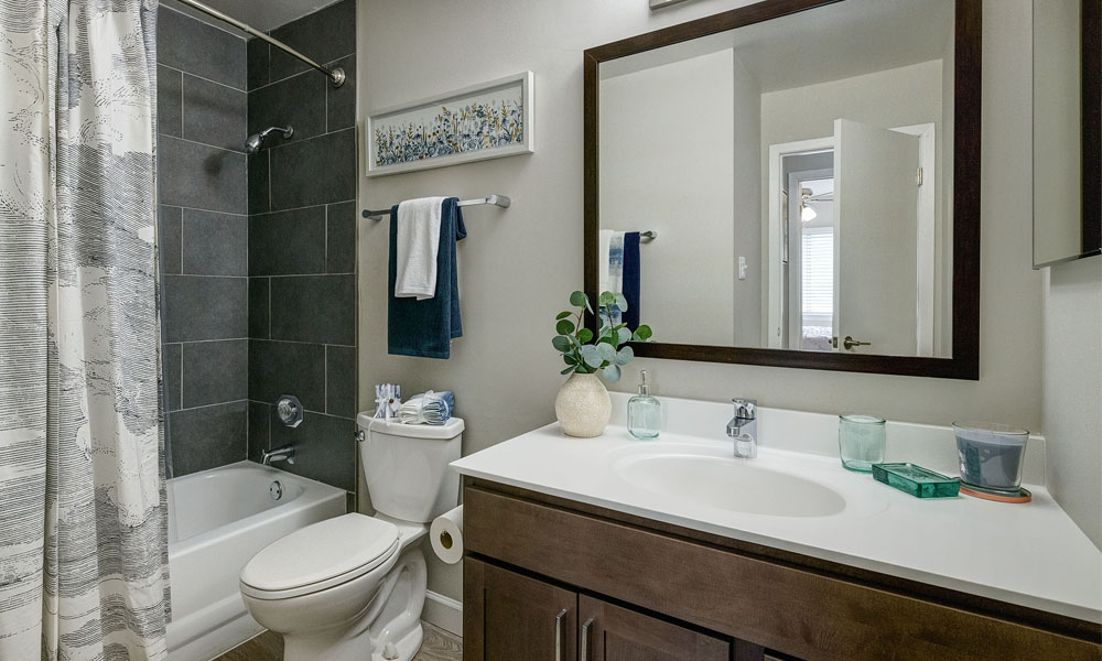 Updated Bathroom with Tiled Tub - The Clayson