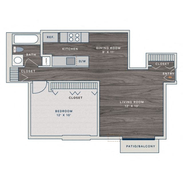 1 Bed 1 Bath A Floor Plan at The Clayson, Palatine, Illinois