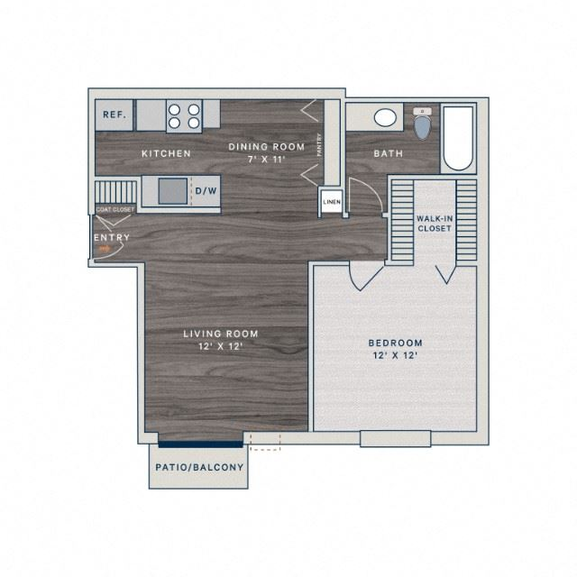 1 Bed 1 Bath A1 Floor Plan at The Clayson, Palatine