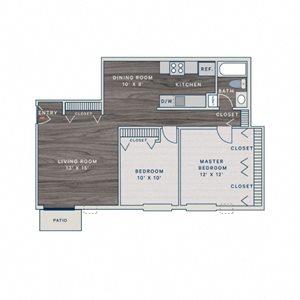 2 Bed 1 Bath B Floor Plan at The Clayson, Illinois, 60067