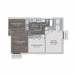 2 Bed 1 Bath B1 Floor Plan at The Clayson, Palatine, IL, 60067