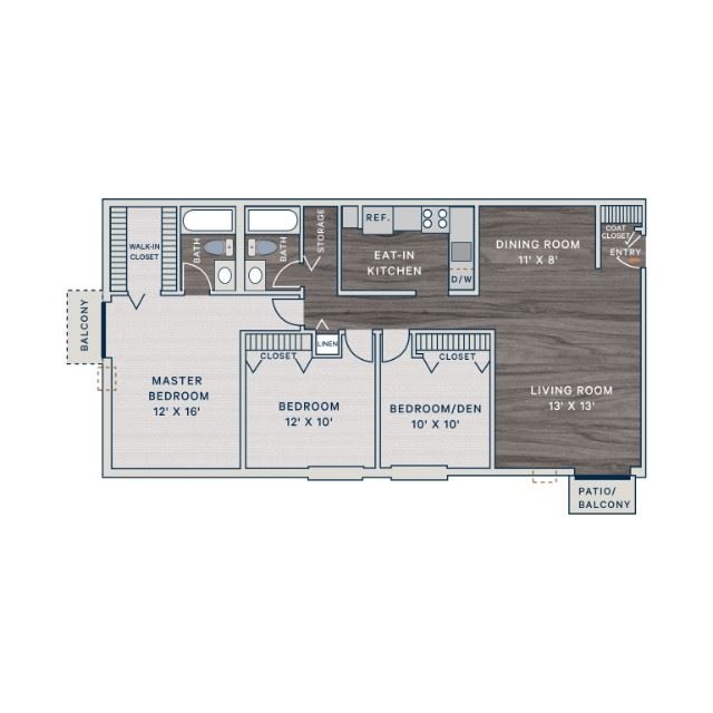 3 Bed 2 Bath D Floor Plan at The Clayson, Palatine, IL