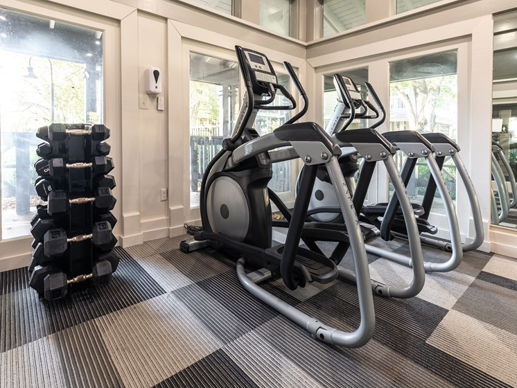 Renovated fitness center with free weights at Arbors Harbor Town Apartment Homes in Memphis, TN 38103
