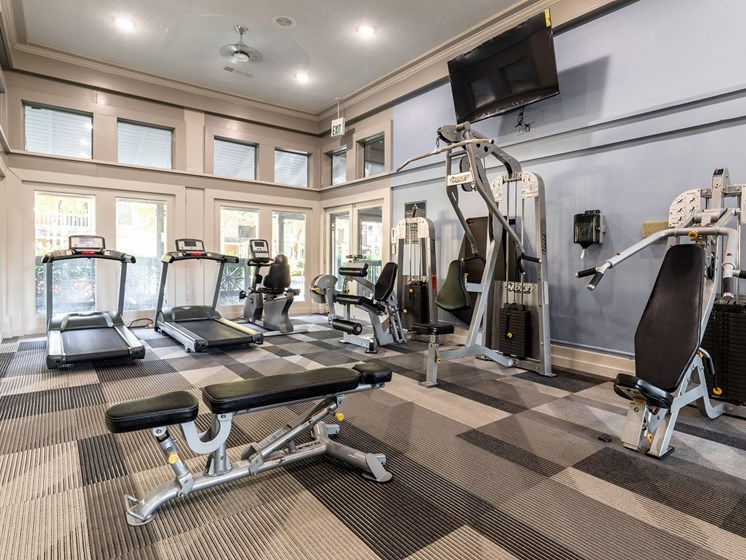 Renovated fitness center with modern fitness equipment at Arbors Harbor Town Apartment Homes in Memphis, TN 38103