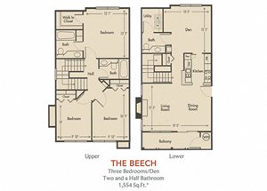 Beech Floorplan 3 Bedroom 2.5 Bath 1131 Total Sq Ft at Arbors Harbor Town Apartment Homes, Memphis, TN 38103