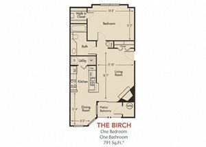 Birch Floorplan 1 Bedroom 1 Bath 791 Total Sq Ft at Arbors Harbor Town Apartment Homes, Memphis, TN 38103