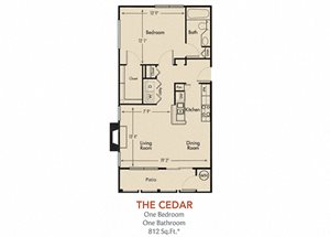 Cedar Floorplan 1 Bedroom 1 Bath 812 Total Sq Ft at Arbors Harbor Town Apartment Homes, Memphis, TN 38103
