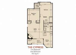 Cypress Floorplan 2 Bedroom 1 Bath 937 Total Sq Ft at Arbors Harbor Town Apartment Homes, Memphis, TN 38103