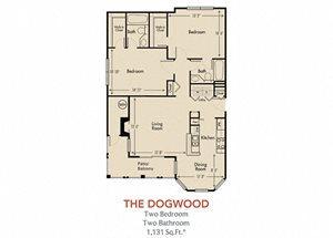Dogwood Floorplan 2 Bedroom 2 Bath 1131 Total Sq Ft at Arbors Harbor Town Apartment Homes, Memphis, TN 38103