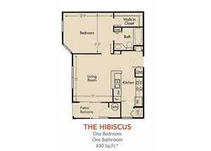 Hibiscus Floorplan 1 Bedroom 1 Bath 630 Total Sq Ft at Arbors Harbor Town Apartment Homes, Memphis, TN 38103