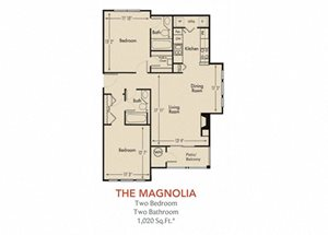 Magnolia Floorplan 2 Bedroom 2 Bath 1020 Total Sq Ft at Arbors Harbor Town Apartment Homes, Memphis, TN 38103