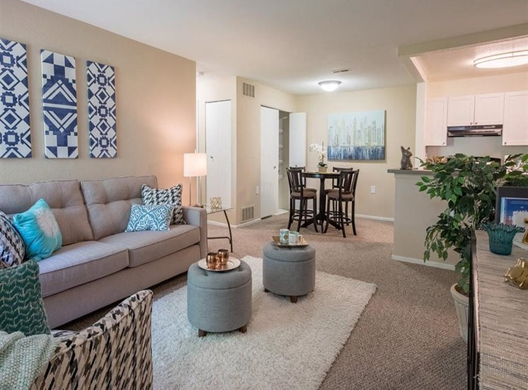 Open Living area with high ceilings at Sunrise Point in Port Orange, FL