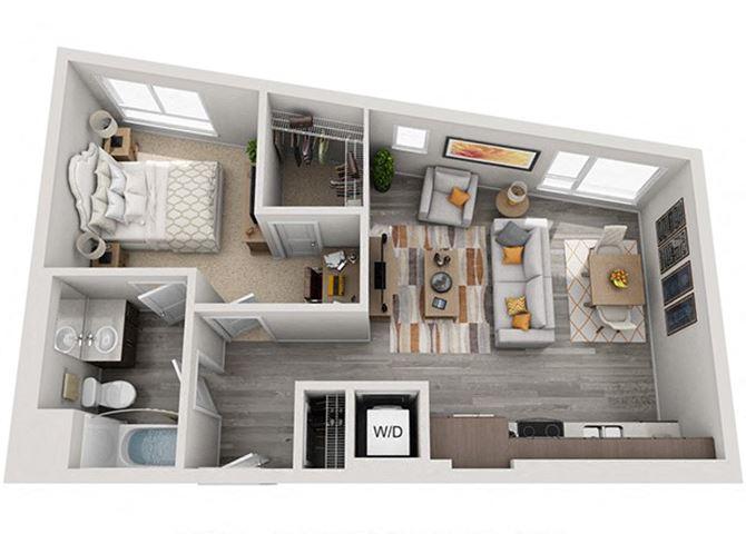 Baseline 158 2D floor plan A4 1 bedroom