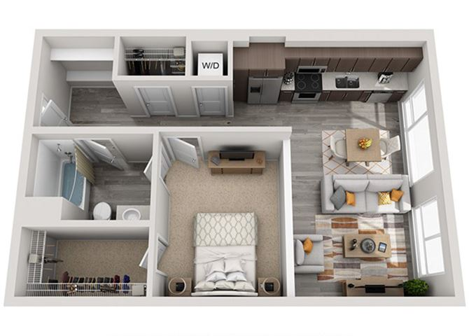 Baseline 158 2D floor plan A5 1 bedroom