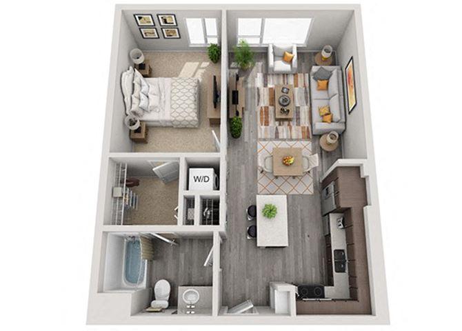 Baseline 158 2D floor plan A6 1 bedroom