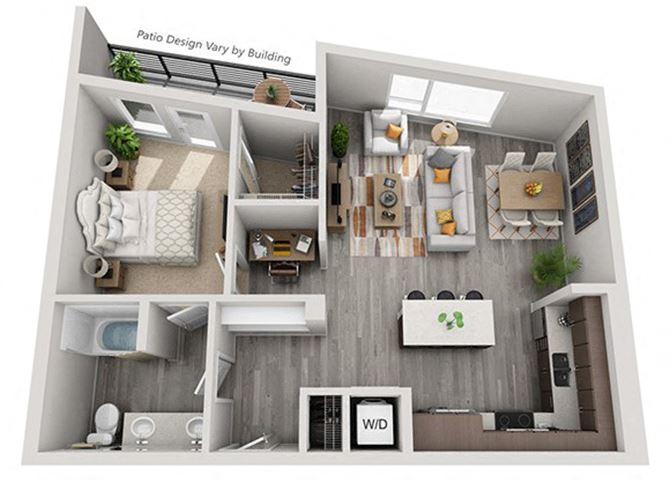 Baseline 158 2D floor plan A9 1 bedroom