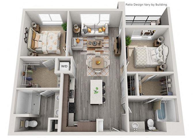 Baseline 158 2D floor plan B1 2 bedroom