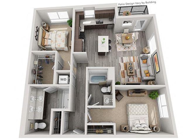 Baseline 158 2D floor plan B2 2 bedroom
