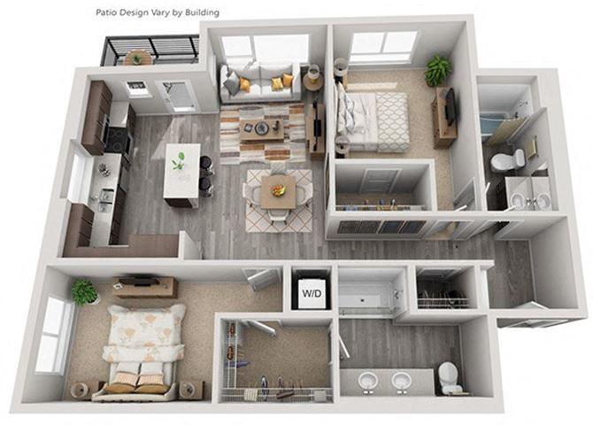 Baseline 158 2D floor plan B3 2 bedroom