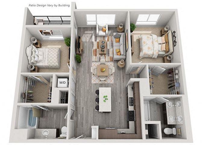 Baseline 158 2D floor plan B4 2 bedroom
