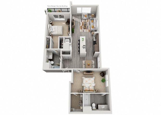 Baseline 158 2D floor plan B5 2 bedroom
