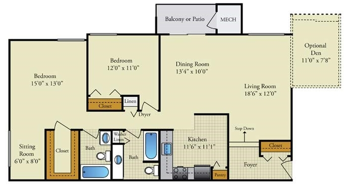 Large 2 bedroom with Den Option