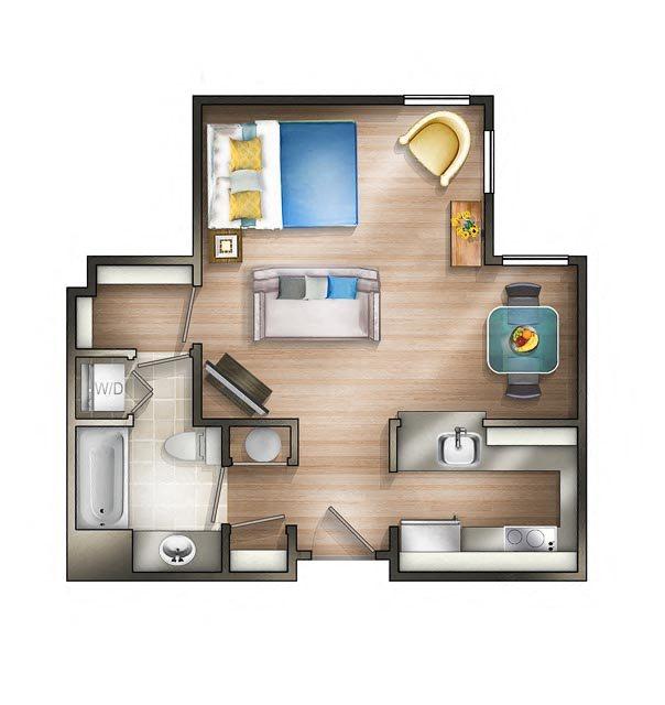 Floor plan at The Saratoga Apartments, Washington, D.C.