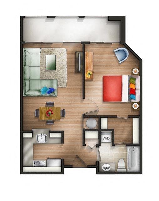 Floor plan at The Saratoga Apartments, Washington