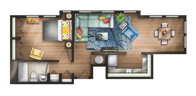 Floor plan at The Saratoga Apartments, Washington, D.C., 20008