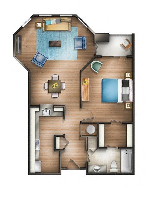 Floor plan at The Saratoga Apartments, Washington, DC 20008