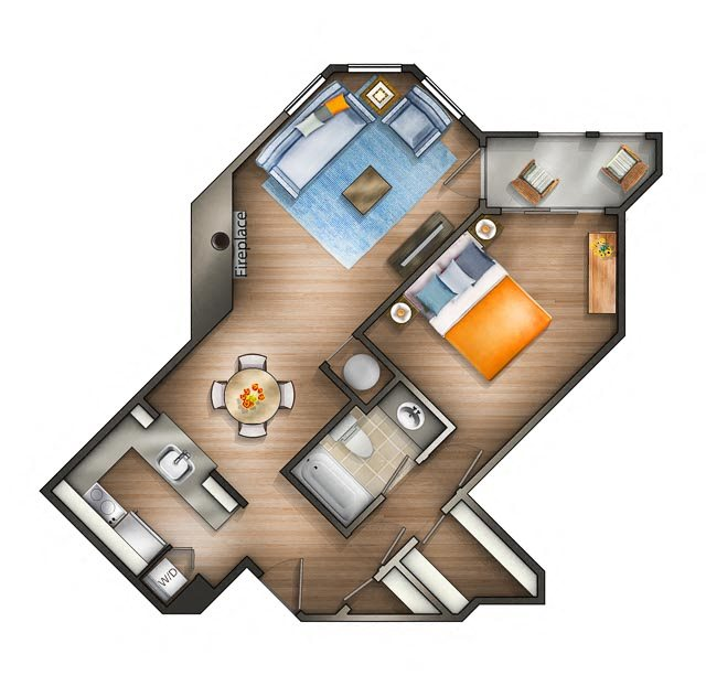 Floor plan at The Saratoga Apartments, Washington, 20008