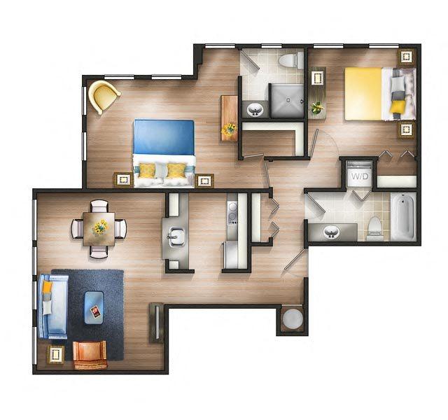 Floor plan at The Saratoga Apartments, Washington, DC
