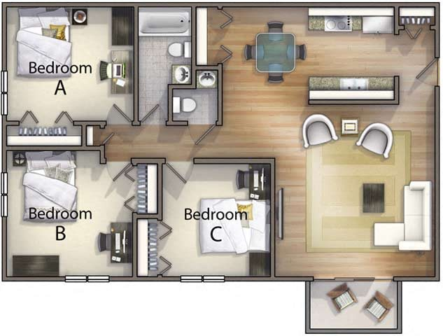 3 Bedroom 1 5 Bathroom Floor Plan 4. TEST The Point at Still River   Apartments in Danbury  CT