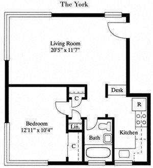 Floor plan at Park Georgetown, Arlington, VA