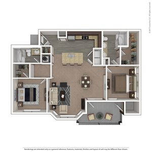 Hawk Floor Plan at 9910 Sawyer Apartment Homes in Louisville, Kentucky, KY