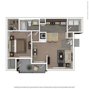 Merlin Floor Plan at 9910 Sawyer Apartment Homes in Louisville, Kentucky, KY