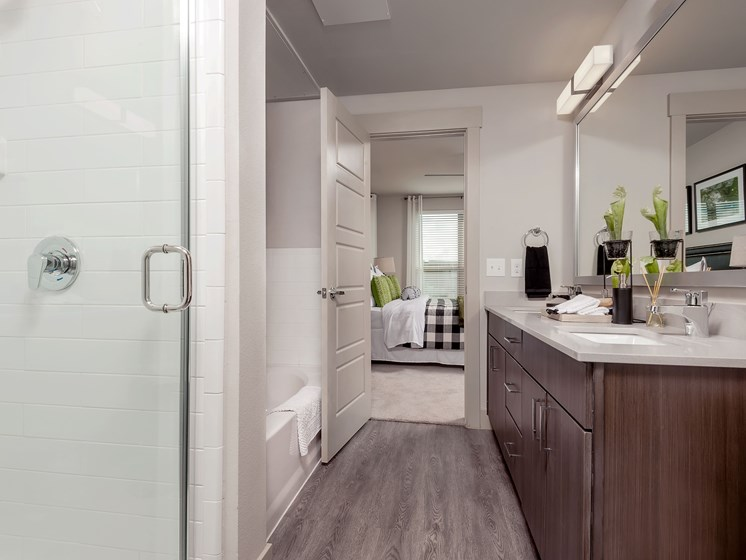 Separate showers and tubs in select floorplans