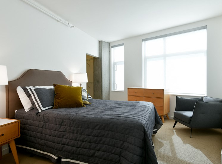Comfortable Bedroom With Large Window at Venn On Market, California