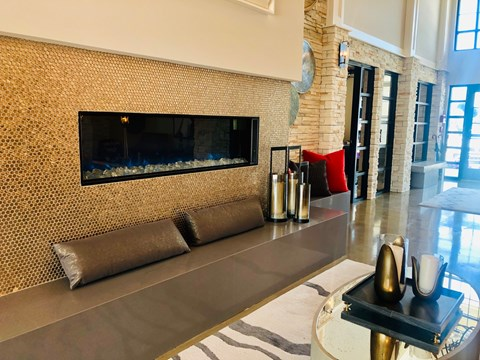 large fireplace seating area in apartments in round rock texas