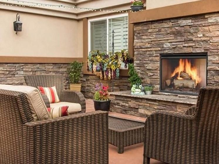 Fireplace at Legacies Memory Care at San Martin