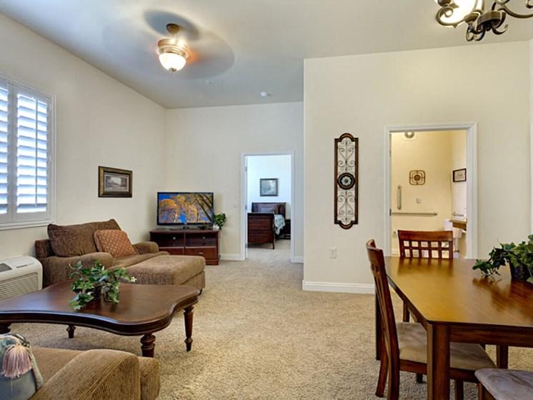 Bright Living Room at Legacies Memory Care at San Martin, Las Vegas, NV