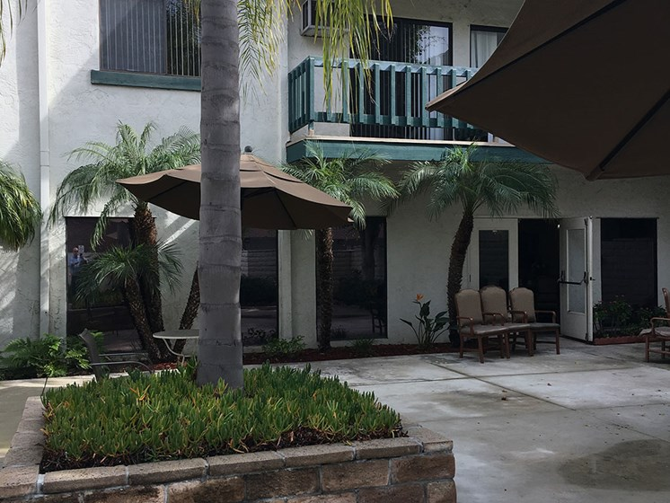 Spacious patio area at Alta Vista Senior Living, Vista, 92083